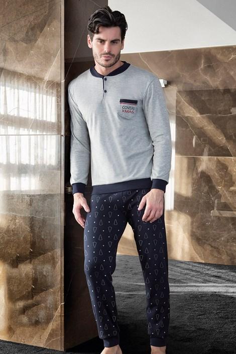 Enrico Coveri Pánské vánoční pyžamo E.COVERI Xmas šedomodrá XL
