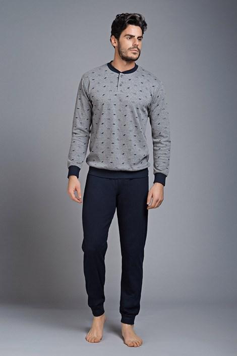 Enrico Coveri Pánské pyžamo Interlock šedá XL