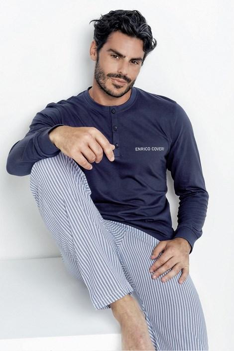 Enrico Coveri Pánské pyžamo Romeo modrobílá XXL