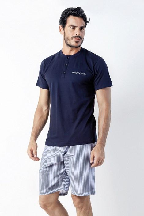 Enrico Coveri Pánské pyžamo Romeo krátké modrá XXL