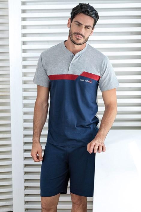Enrico Coveri Modré pyžamo Basile jeans XXL