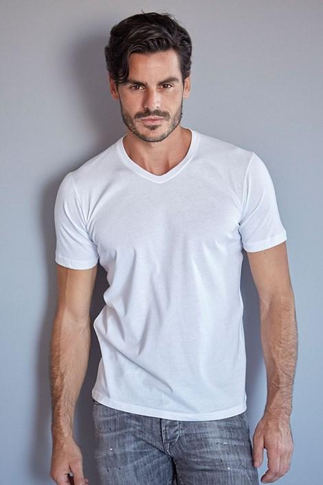 Enrico Coveri Pánské bavlněné tričko ET 1111 bílá M