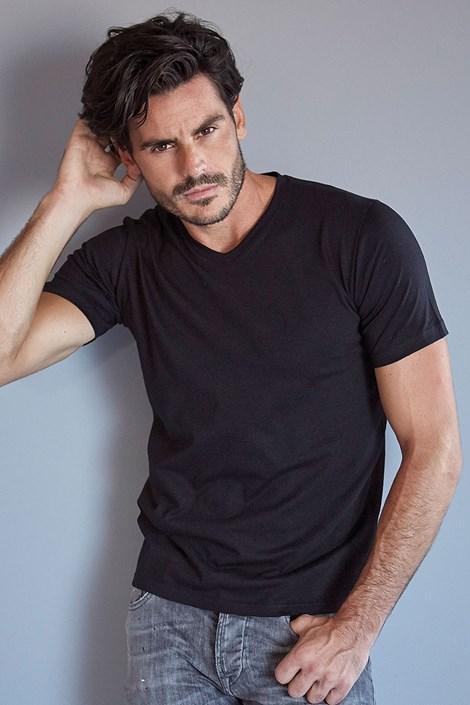 Enrico Coveri Pánské bavlněné tričko ET 1111 černá M