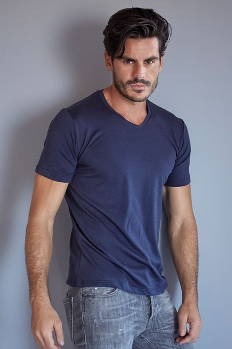 Enrico Coveri Pánské bavlněné tričko ET 1111 modrá M