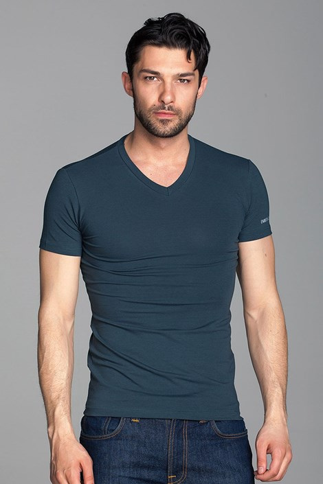 Enrico Coveri Pánské tričko Enrico Coveri ET1501 petrolejová M