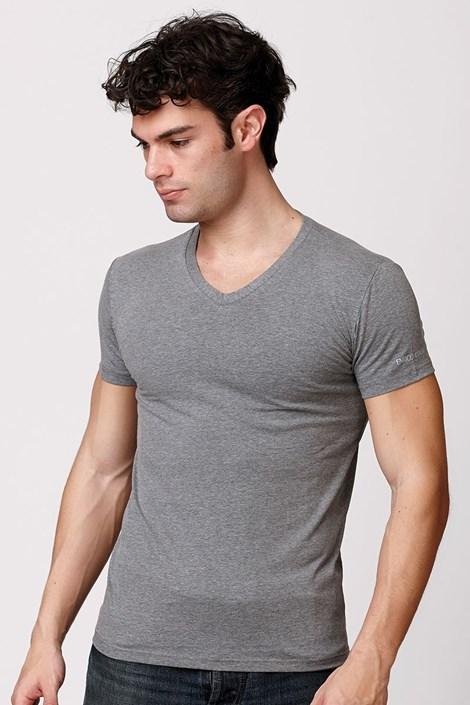 Enrico Coveri Pánské italské tričko Enrico Coveri ET1505 Grimel bavlněné světlešedá M