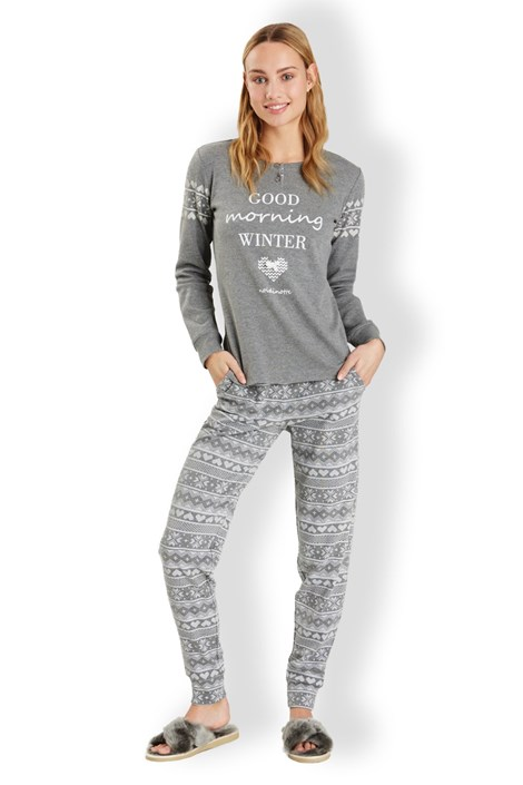 Noidinotte Dámské italské pyžamo Winter Grey šedá M