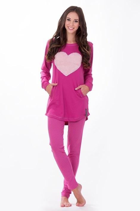 Noidinotte Dámské italské pyžamo Big Heart tmavěrůžová XL