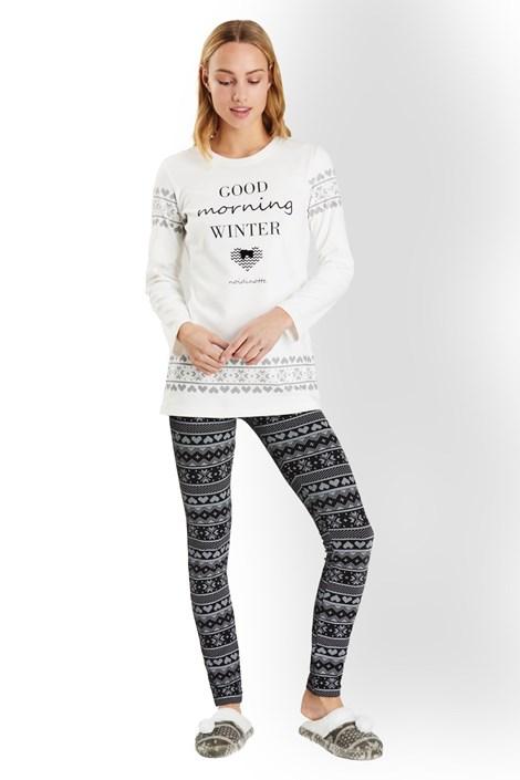 Noidinotte Dámské italské pyžamo Good morning winter ecručerná XL