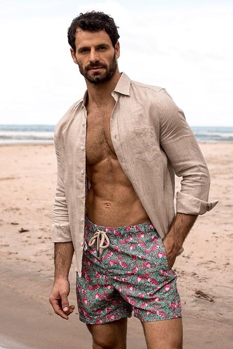 SHORTS Co. Pánské koupací šortky SHORTS Co. Flamingo zelenorůžová S