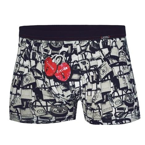 Cornette Pánské boxerky CORNETTE Forever černobílá L