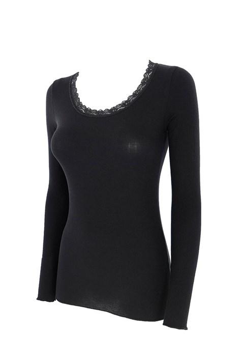 COTONELLA Dámské tričko s kašmírem Daja černá XL