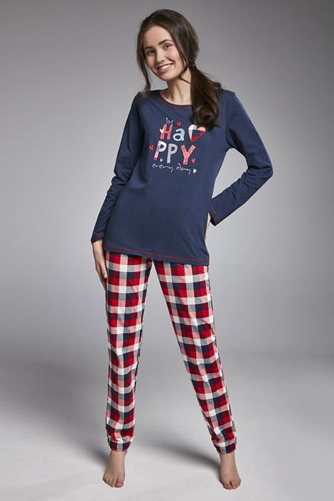 Cornette Dívčí pyžamo Cornette Happy Girl modročervená S