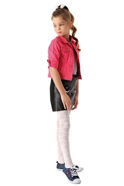MONA Dívčí punčochové kalhoty Hearts bílá 140/146