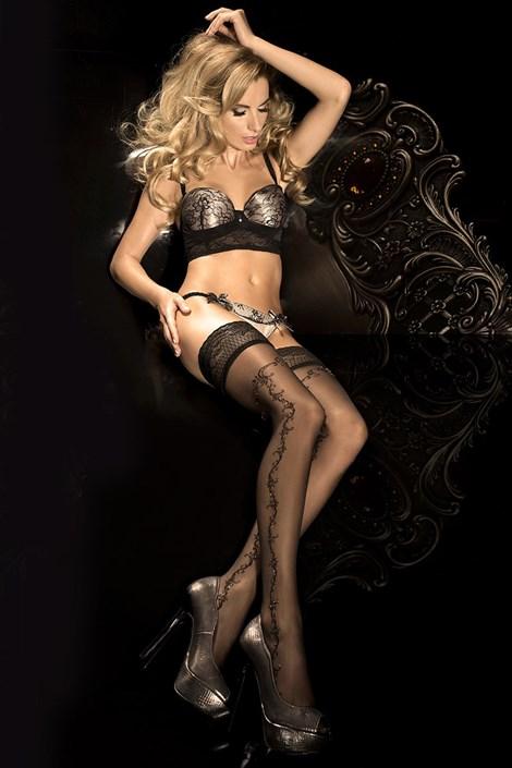 Ballerina Luxusní samodržící punčochy HushHush 285 černá L/XL