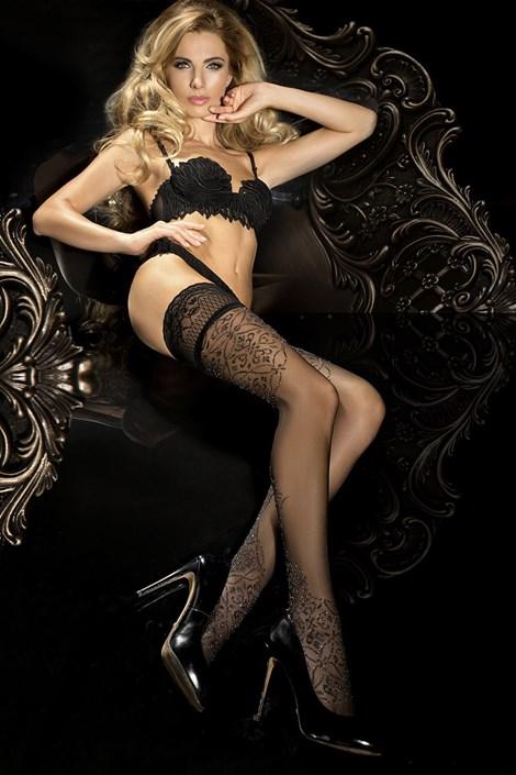 Ballerina Luxusní samodržící punčochy HushHush 287 černá L/XL