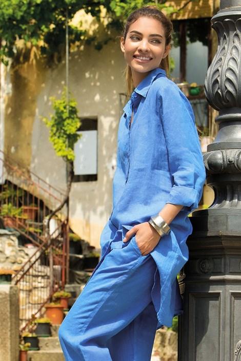 Dámské lněné košilové šaty Sherie Blue