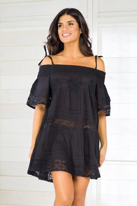 Iconique Dámské italské plážové šaty Iconique IC800 Black černá M