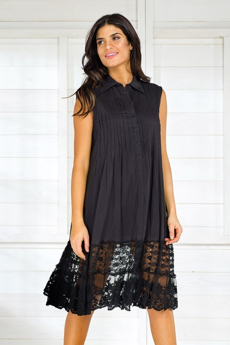Iconique Dámské italské letní košilové šaty Iconique IC8017Black černá S