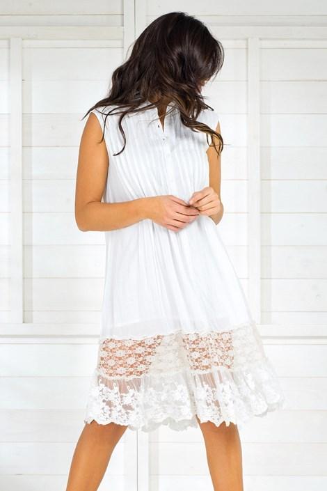 Iconique Dámské italské letní košilové šaty Iconique IC8017White bílá S