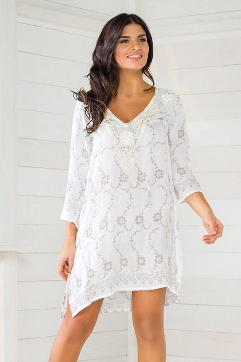 Iconique Dámské italské letní šaty Iconique IC8020 s kamínky bílá M