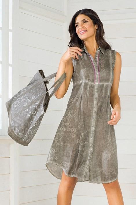 Iconique Dámské košilové letní šaty z italské kolekce Iconique IC8048 hnědošedá S