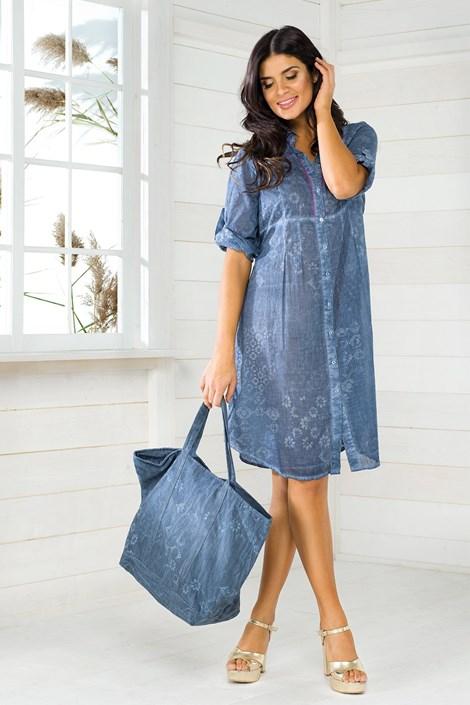 Iconique Plážová taška italské značky Iconique, IC8052 Jeans modrá uni
