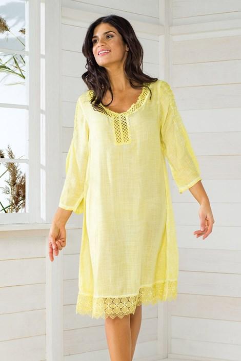 Iconique Dámské italské plážové šaty Iconique IC8057 Yellow žlutá XL