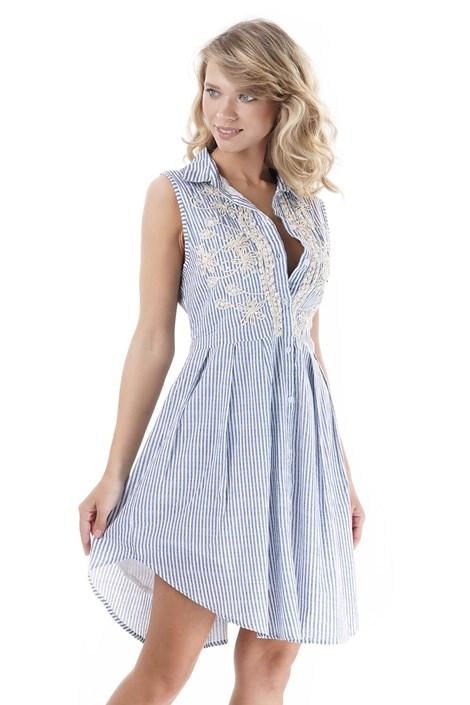 Iconique Dámské plážové šaty Silvia bílomodrá S