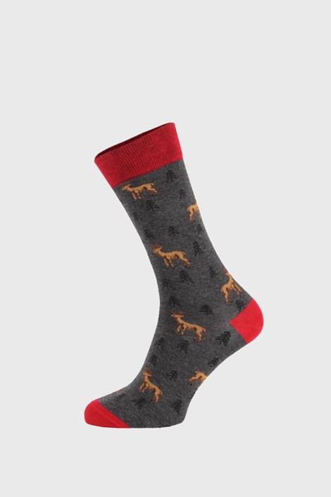 John Frank Tmavě šedé ponožky Deer barevná 40-45
