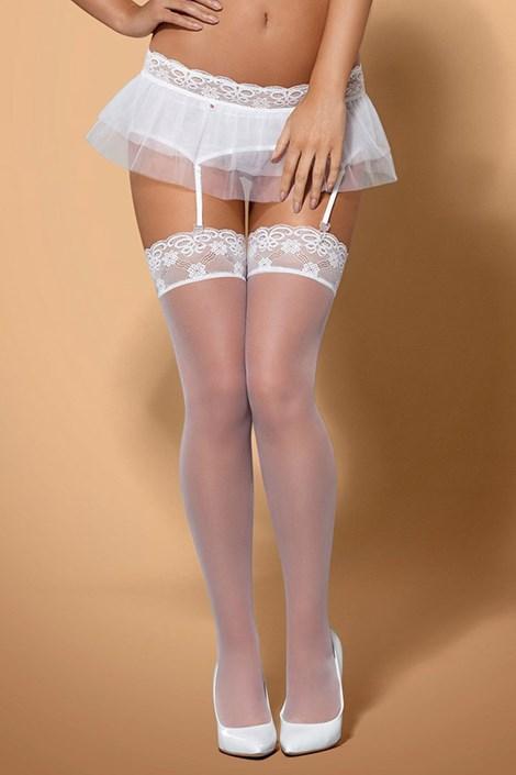 Obsessive Luxusní podvazkové punčochy Julitta bílá S/M
