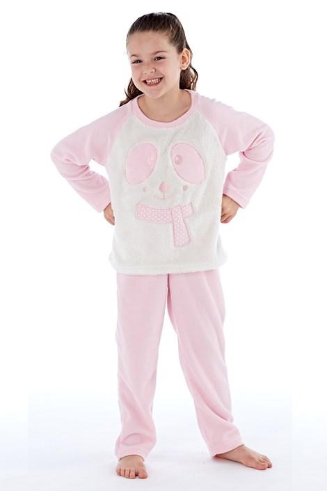 Fordville Dívčí hřejivé pyžamo Winter růžovobílá 7/8