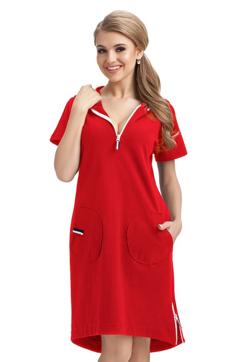 Dorota Dámské bavlněné šaty Lucrece červená XL