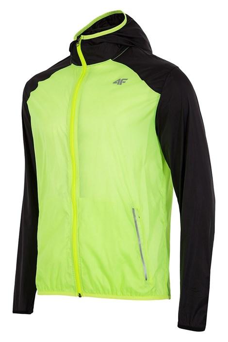 4F Pánská běžecká bunda z voděodolného materiálu zelenožlutá XXL