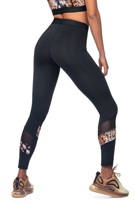 LORIN Dámské sportovní legíny se zvířecím motivem černá XL