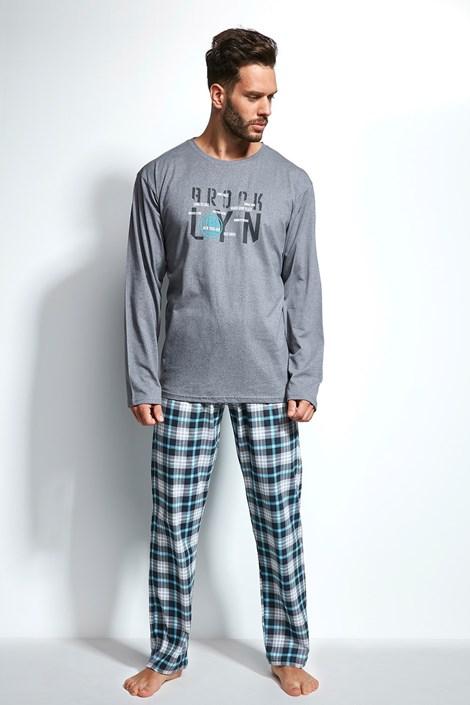 Cornette Pánské pyžamo CORNETTE Long Island šedomodrá XXL
