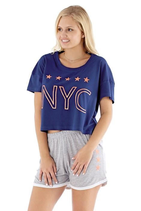 Selena Secrets Dámské pyžamo NYC navy modrošedá M/L