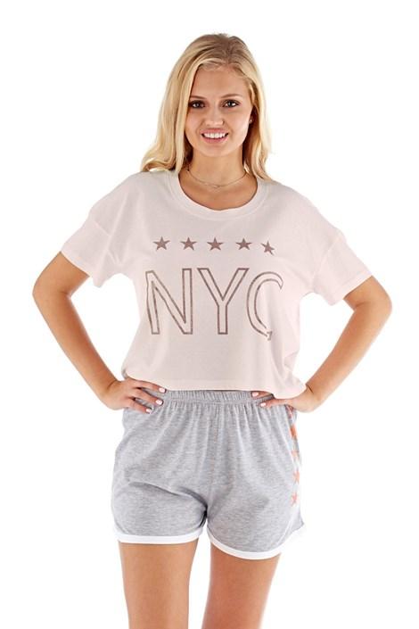 Selena Secrets Dámské pyžamo NYC růžové růžovošedá S/M