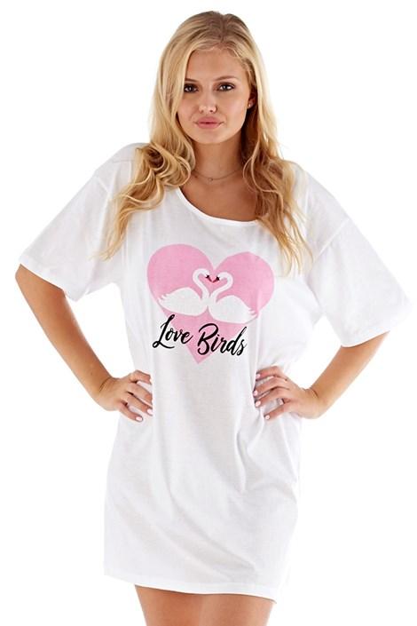Selena Secrets Dámská noční košile Love Birds růžová bílá S/M