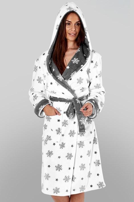 Selena Secrets Dámský hřejivý župan Snow Flake bílý bílá M