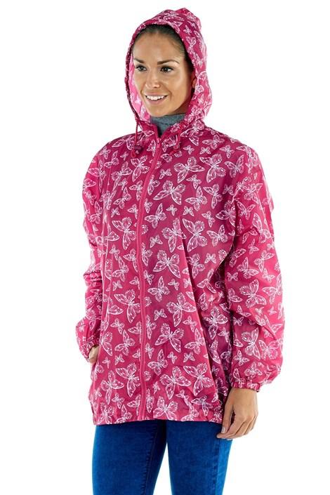 ProClimate Dámská voděodolná bunda ProClimate Motýlci růžová složená do kapsy růžovobílá XL