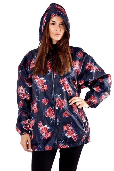ProClimate Dámská voděodolná bunda ProClimate Květinová složená do kapsy modročervená XL
