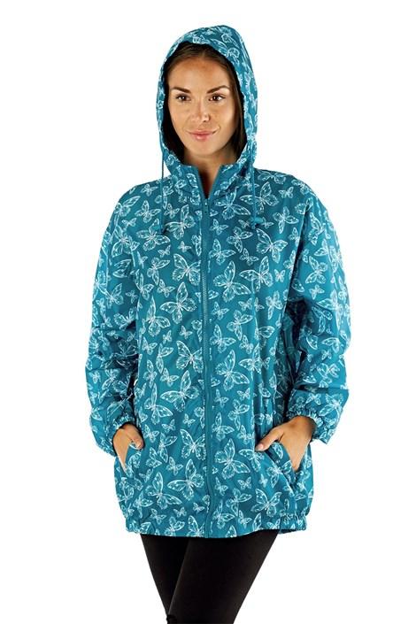 ProClimate Dámská voděodolná bunda ProClimate Motýlci tyrkys složená do kapsy modrobílá XL
