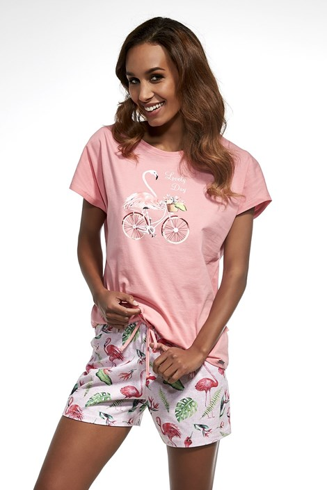 Cornette Dámské pyžamo Flamingo růžová XXL