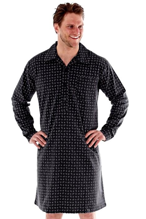 Fordville Pánská noční košile HARVEY JAMES flanelová šedá XXL