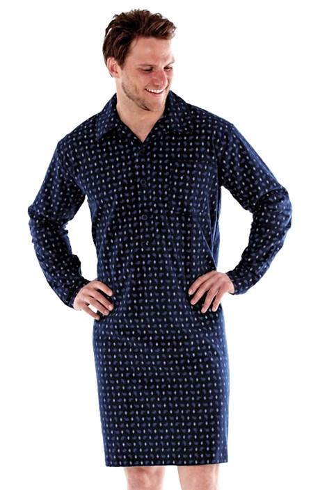 Fordville Pánská noční košile HARVEY JAMES flanelová tmavěmodrá XXL