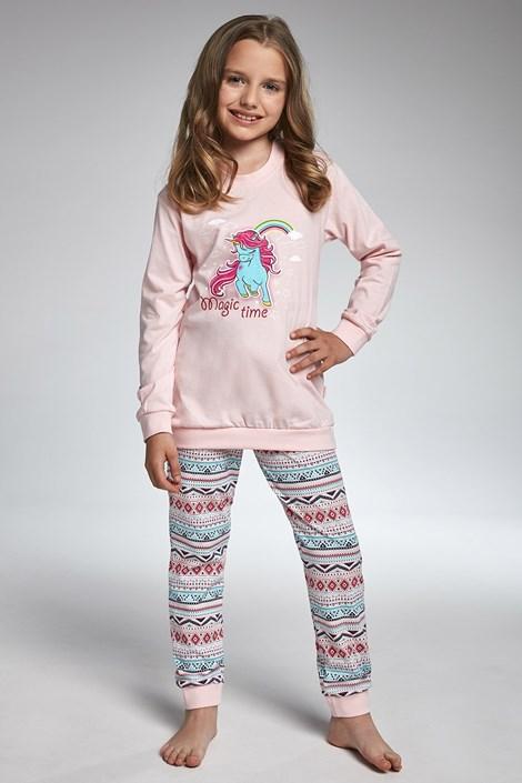 Cornette Dívčí pyžamo Cornette  Magic Time růžovomodrá 98/104