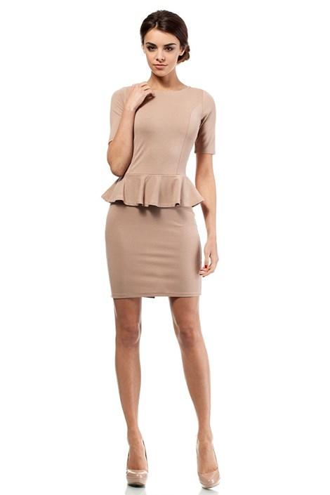 Moe Dámské šaty s volánem Moe014 capuccino L