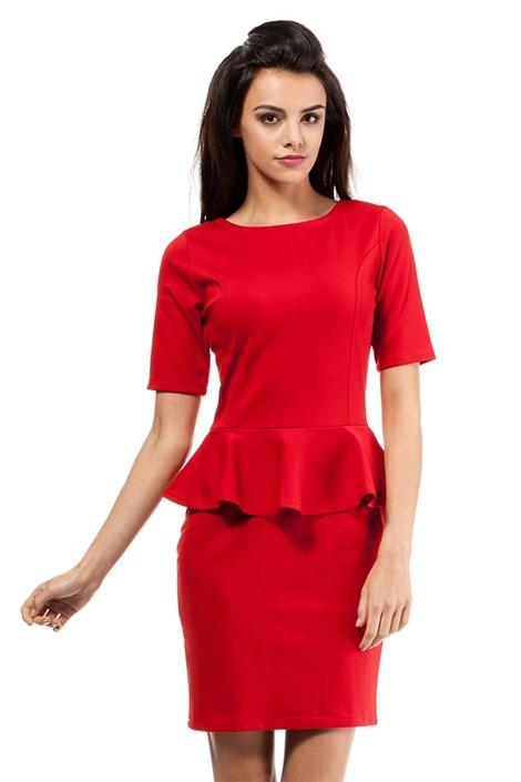 Moe Dámské šaty s volánem Moe014 červená L