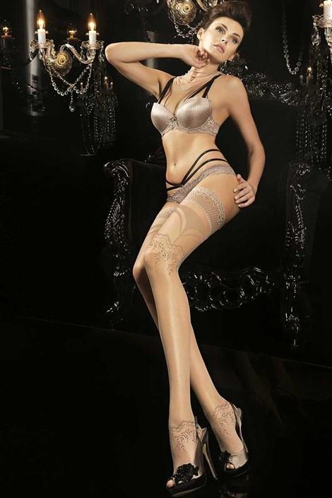 Ballerina Luxusní samodržící punčochy Noir Touch 170 tělová L/XL